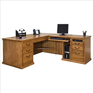 Kathy Ireland Home by Martin Furniture Huntington Oxford Right Return Executive Wood Computer Desk Set in Wheat