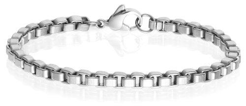 Men's Titanium 5mm Venetian Box Chain Bracelet, 8″