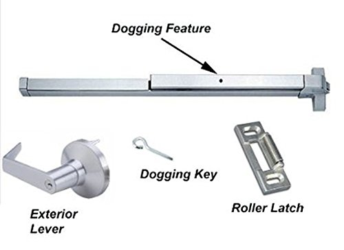 Dynasty Hardware Push Bar Panic Exit Device Aluminum, With Exterior Lever