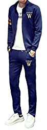 Grazing® Men\'s Sport Set Zip Up Slim Tracksuit Track Suit,2 Piece Jacket & Pant (Blue,L)