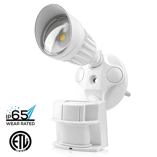 Hyperikon LED Security Light, 10W (75W Equivalent), 900lm, 5000K (Crystal White Glow), Waterproof IP65 & UL, 40° Beam Angle, CRI 80+, Adjustable Head, 120v, Infrared Sensor Activated (Utility Electric Cord compare prices)