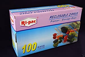 100 pieces 2 Gallon Size 13x16 Zip Lock Reclosable Freezer Storage Bags Zipper by Ziplock Reclosable Bag