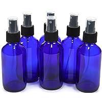 6, Cobalt Blue, 4 oz Glass Bottles, with Black Fine Mist Sprayer