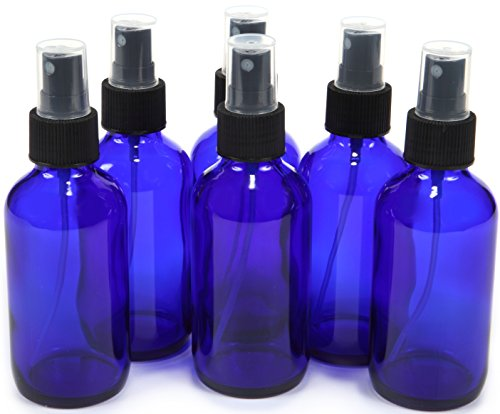 6, Cobalt Blue, 4 oz Glass Bottles, with Black Fine Mist Sprayer (4 Ounce Glass Bottles compare prices)