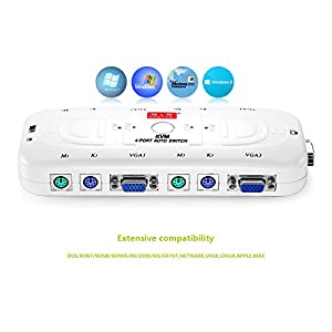 Shengwei 4 Port PS/2 VGA KVM Switch Box + Cables for Computer Sharing Monitor, Keyboard and Mouse (KS-104A)