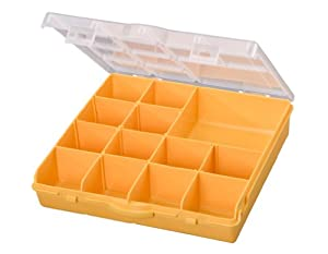 Stack-On SB-13 13 Compartment Storage Organizer Box with Removable Dividers, Yellow