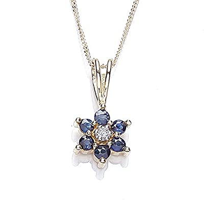 Tower Jewellery 9 ct Diamond Pretty Cluster Pendant with Curb Chain of Length 46 cm