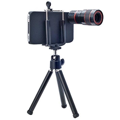 Afaith® 8X Zoom Telescope Camera Lens 4In1 (Wide Angle + Macro +180 Degree Fish Eye + 8X Telescope Lens) With Tripod For Apple Iphone 5 5S Pa030