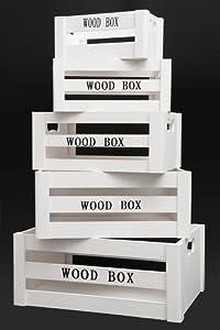 Aufbewahrungsbox vintage holzkisten 5er set weiss for Geschenktrends shop