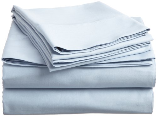 Impressions Genuine Egyptian Cotton 400 Thread Count Queen 4-Piece Sheet Set Solid, Light Blue front-680346