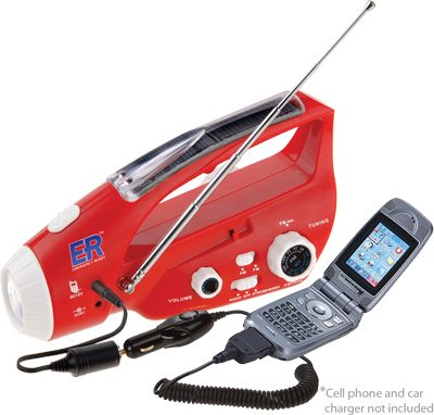 ER Emergency Ready Solar and Hand-Crank Powered Emergency LED Flashlight with Radio and Mobile Phone Charger