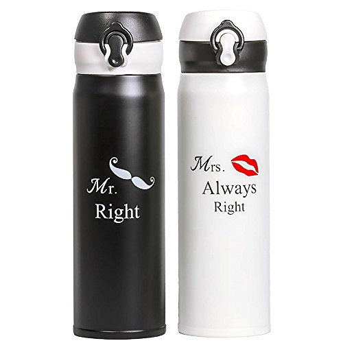Wedding Anniversary Gifts Set Of Two Matching Stainless Steel Flask Thermos With Gift Box And Matching Card, Funny, Unique And Personalized Couples Gifts For Him And Her