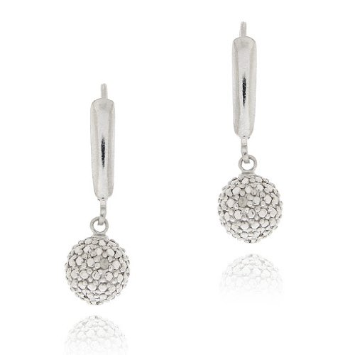 Sterling Silver Diamond Accent Ball Dangle Leverback Earrings