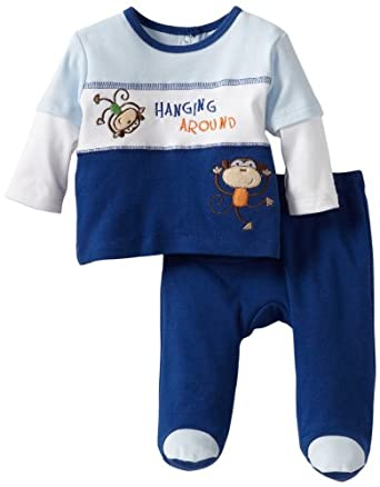 ABSORBA Baby-Boys Newborn Monkey Two Piece Footed Pant Set, Navy, 0-3 Months