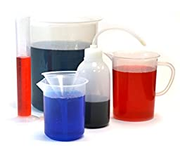 Laboratory Plastic Bath Kit for Future Scientists - Measure, Squirt, and Pour (Beakers, Wash Bottle, Cylinder, Funnel)