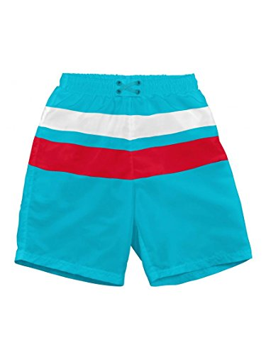 i play. Baby-boys Ultimate Snap Swim Trunks (6/12 Months, Aqua/Red) - 1