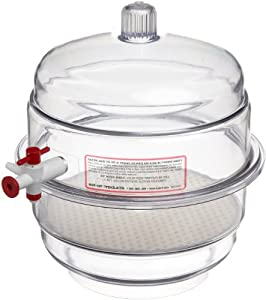 Bel-Art Scienceware F42022 Polycarbonate Bottom Space Saver Vacuum Desiccator, 19.7cm ID, 23cm Flange OD, 26cm Height, 19cm Plate Size