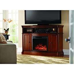 56 Inch Aged Cherry Finished Infrared Electric Fireplace TV Stand Cabinet With Realistic Flames, Glowing Ember Bed Effect & Curved Front Fireplace Includes Adjustable Side Storage Shelves