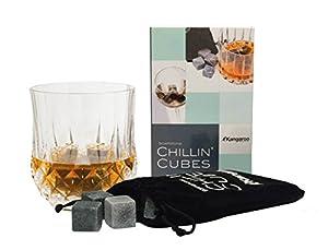 Chillin' Cubes - America's Finest Bourbon & Whiskey Rocks (Set of 16 Stones) in Gift Set with Velvet Bag