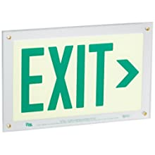 "Safe Glow Photoluminescent Exit Sign, ""EXIT"" with Right Arrow Symbol, 14-5/8"" Length x 9-1/2"" Width x 1/4 "" Height, Wall Mount (Pack of 1)"
