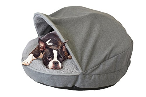 Precious Tails Gray Felt Round Cave Hamburger Pet Bed with Gray Felt Piping & Plush Sherpa Interior 35""