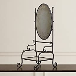 A&B Home Group, Inc Freestanding Full Length Swivels Wall Distressed Mirror, Black