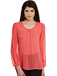 Peach Solid Poly Georgette Top