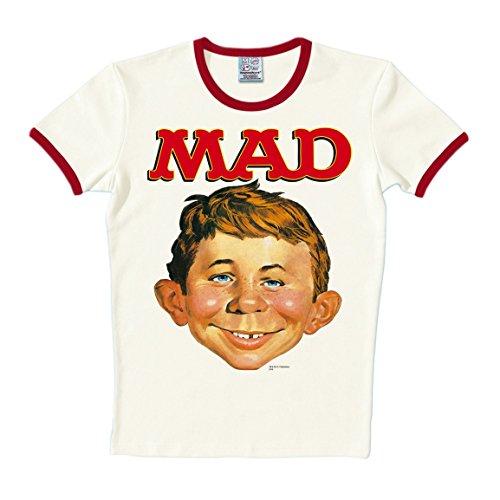 T-shirt Slim Fit Alfred E. Neuman - maglia Slim Fit rivista MAD Magazine - maglietta girocollo di LOGOSHIRT - quasi bianco - design originale concesso su licenza, taglia L