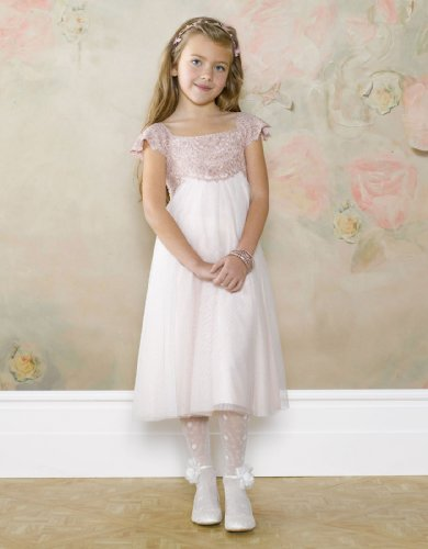 Monsoon Girls Estella Sparkle Dress Size 7-8 Years Pink