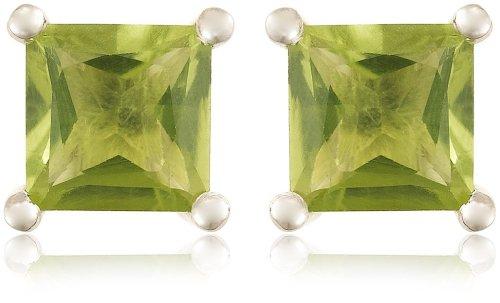 Sterling Silver 6mm Square-Cut Peridot Earrings
