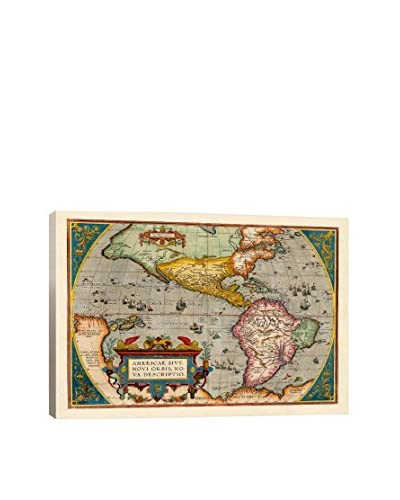 Antique-Inspired Map Of The Americas (1598) Gallery Wrapped Canvas Print