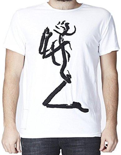 "'RELIGION Clothing T-Shirt da uomo maglietta Praying Skeleton "" bianco m"