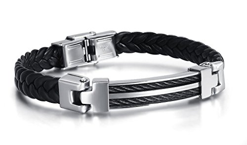 Mens Bangle Bracelet Stainless Steel Silver Black PU Leather Black Rope 8.5inch (22 Inch Frying Pan compare prices)