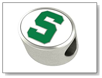 PREMIUM Michigan State Spartans MSU Jewelry Beads and Charms Fits Most European Style Bracelets. High Quality Bead In Stock for Fast Shipping. Officially Licensed