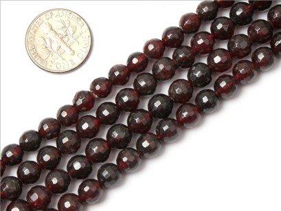 7mm round faceted gemstone garnet beads strand 15