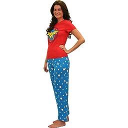 Wonder Woman Superhero Pajama Set for Women - Medium