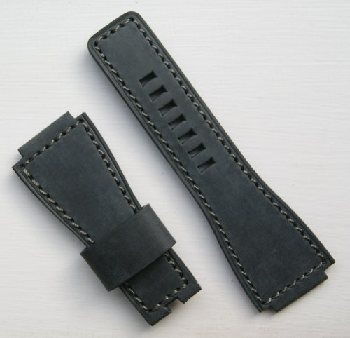 Graphite Ammo Pouch Style Gray-Stitch Leather Watchband For Bell & Ross Br01 Br03 Long
