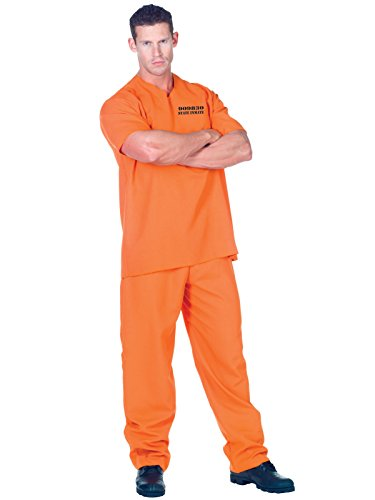 Mens Convict Costume 2 Piece Set Orange Short Sleeve Shirt and Matching Pants