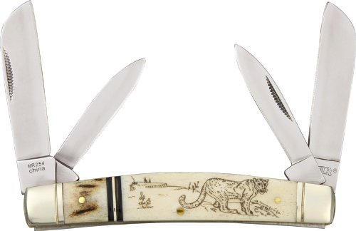 Marbles Outdoors Knives 254 Scrimshaw Series - Congress Pocket Knife with White Smooth Bone & Stag Handles