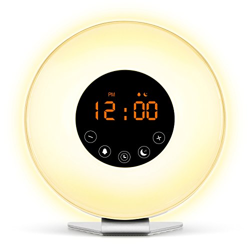 Wake Up Light Sunrise Digital Alarm Clock - [2017 Upgraded] with 6 Natural Sounds and FM Radio, Sunrise and Sunset Simulation & 7 Auto Switch Colors LED Night Light for Bedside, Adults and kids