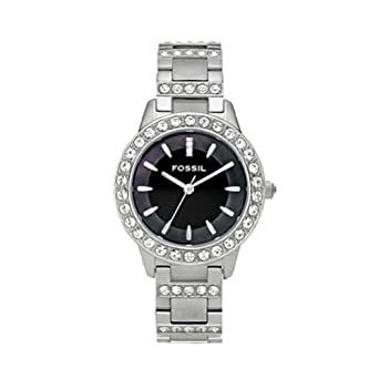Fossil Women's ES2130 Stainless Steel Bracelet Black Glitz Analog Dial Watch