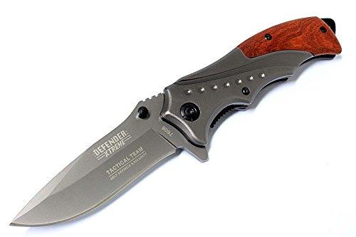 "8"" Defender Extreme Grey Folding Spring Assisted Knife with Belt Clip"
