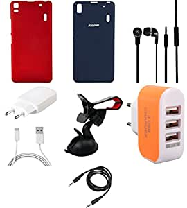 NIROSHA Cover Case Charger Headphone Mobile Holder car for Lenovo K3 Note - Combo