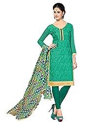 Suchi Fashion Embroidered Green Chanderi Dress Material