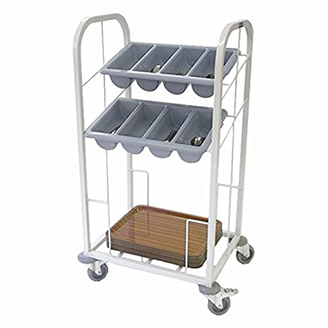 Craven Material Steel Two Tier Cutlery and Tray Dispense Trolley Capacity 100 trays, 1176(H)x675(W)x520(D)mm Weight 14.5kg