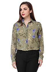 PURYS Green Floral Printed Buttoned Shirt - Medium