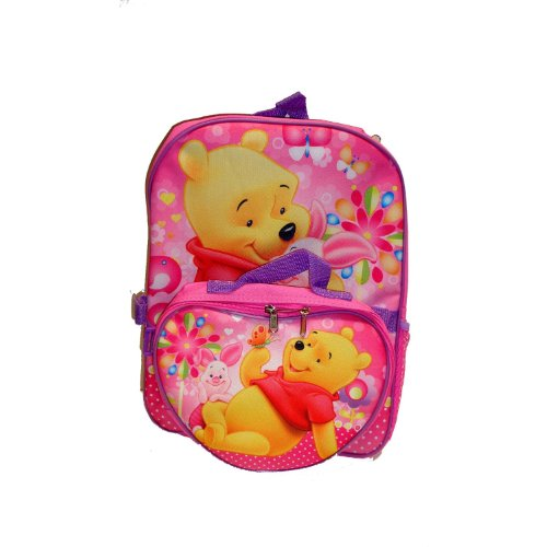 Image of Winnie the Pooh and Piglet Huggie Full Size Pink Large 2 pcs Backpack with Utility Bag - Nice beautiful desingn backpack (B003O51OOO)