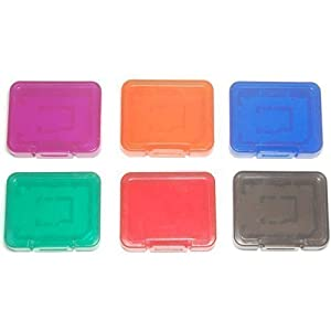 6 x Assecure Pro tough plastic storage case holder covers for SD SDHC & Micro SD memory cards (Multi-Colour semi transparent)