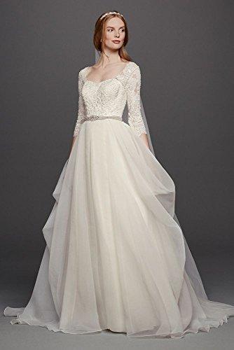 Oleg Cassini Organza 3/4 Sleeved Wedding Dress Style CWG731, Ivory, 4