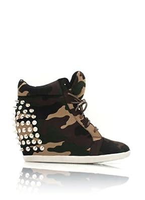 Camo Studded Wedge Sneakers